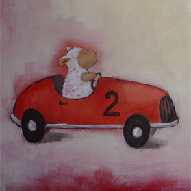 Racing Sheep / Schaap in race auto